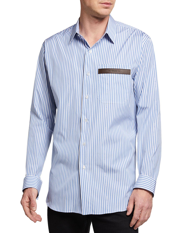 Men's Striped Sport Shirt w/ Leather Logo