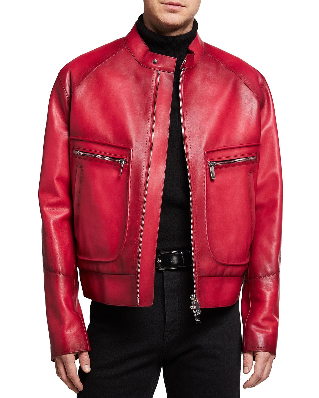 Men's Boxy Varnished Leather Moto Jacket