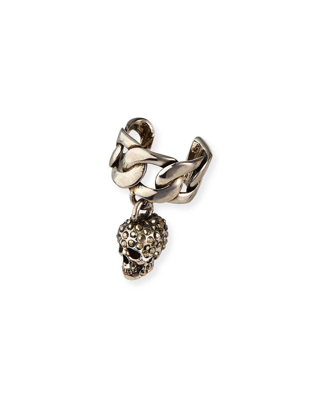 Men's Chain Skull Ear Cuff