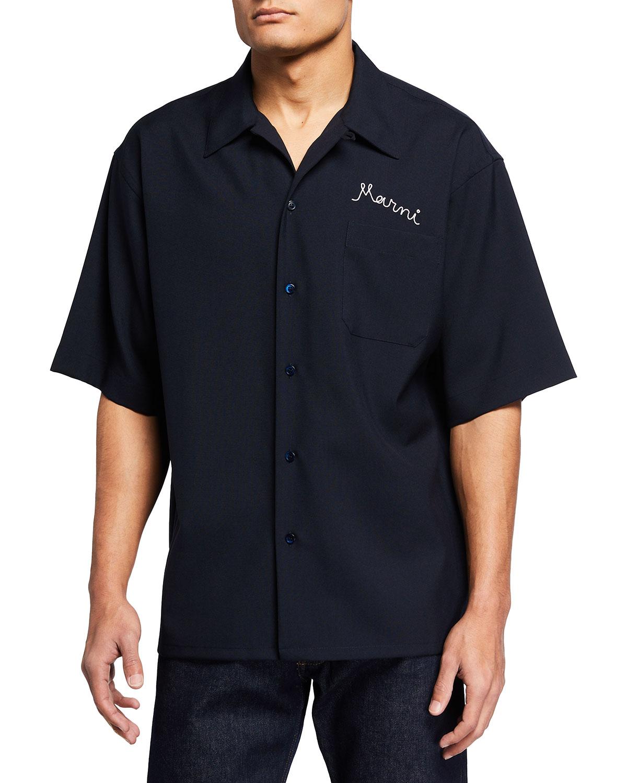 Men's Virgin Wool Short-Sleeve Sport Shirt