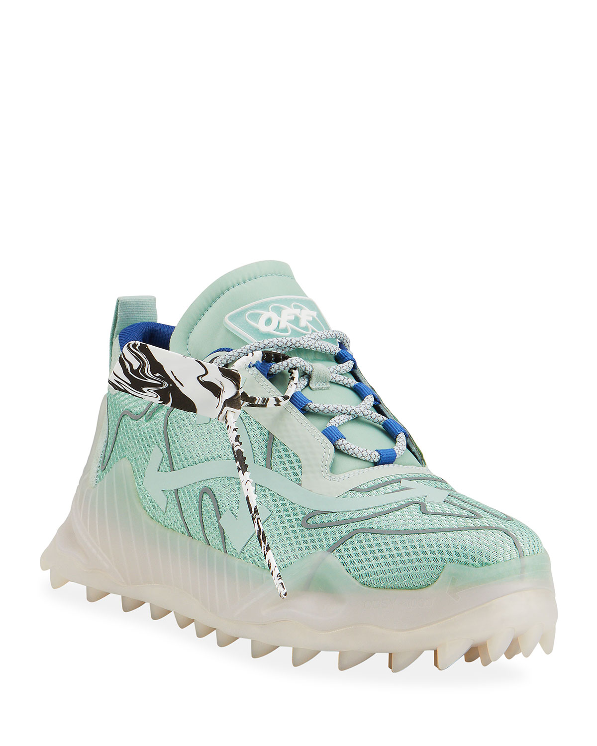 Off-White Sneakers MEN'S ODSY-1000 OUTLINE SCULPTED-SOLE SNEAKERS, MINT SILVER