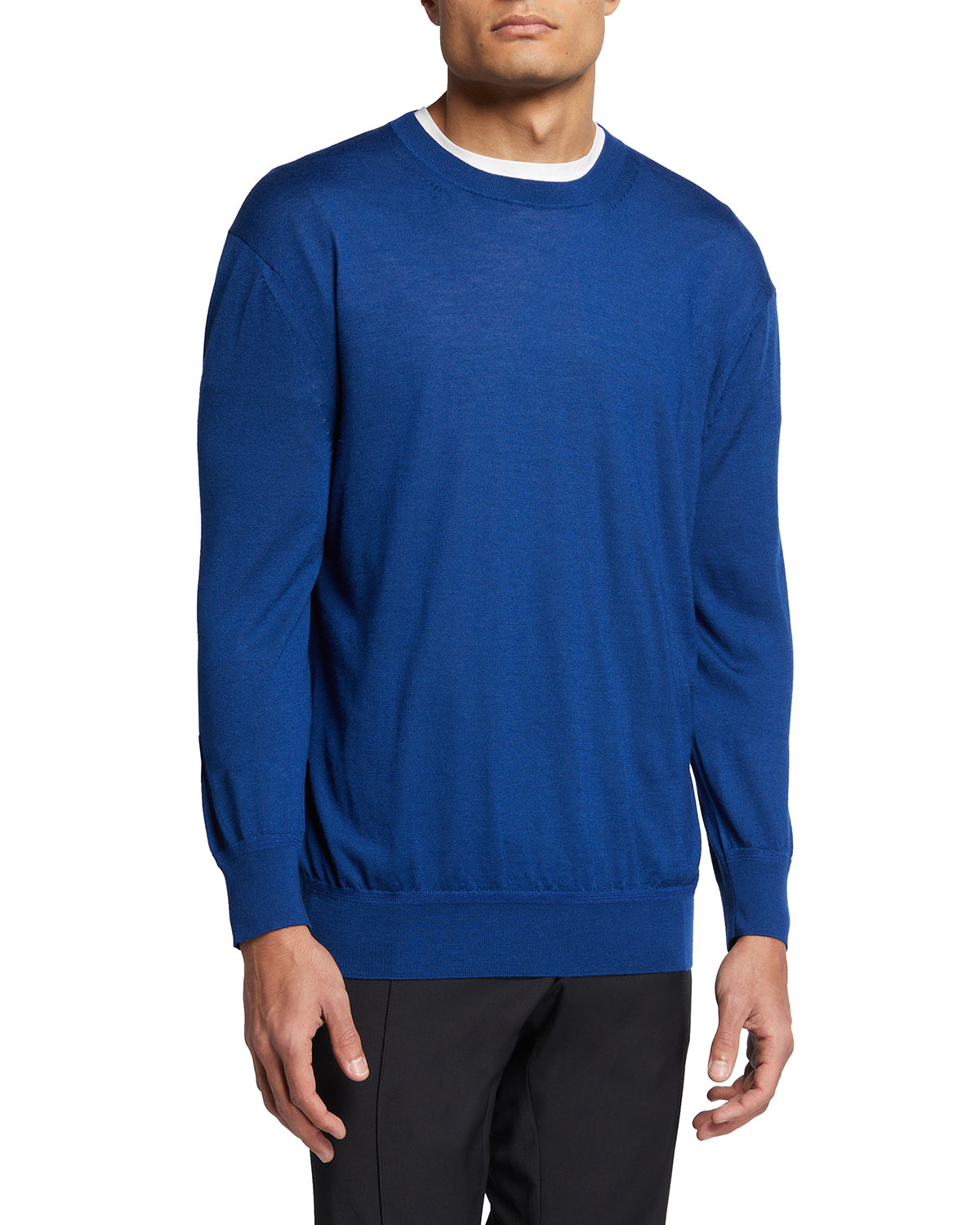 Tom Ford MEN'S SOLID JERSEY LONG-SLEEVE CREWNECK SWEATER