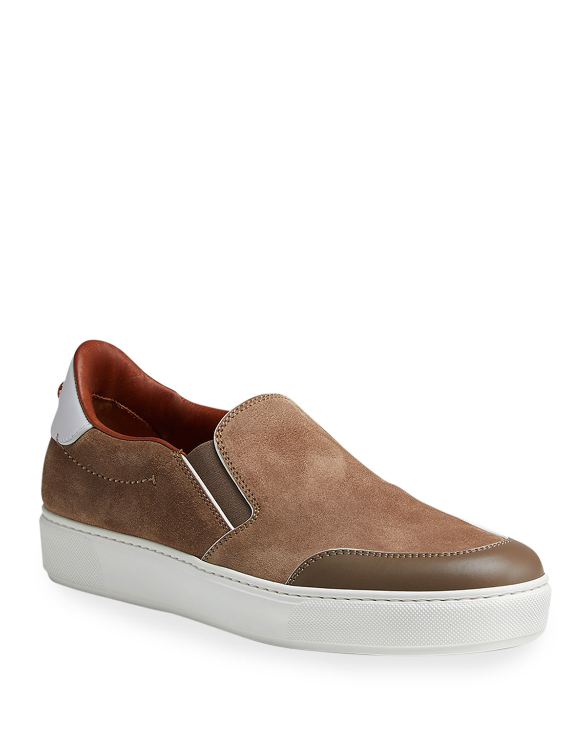 Men's Stitched Suede & Leather Slip-Ons
