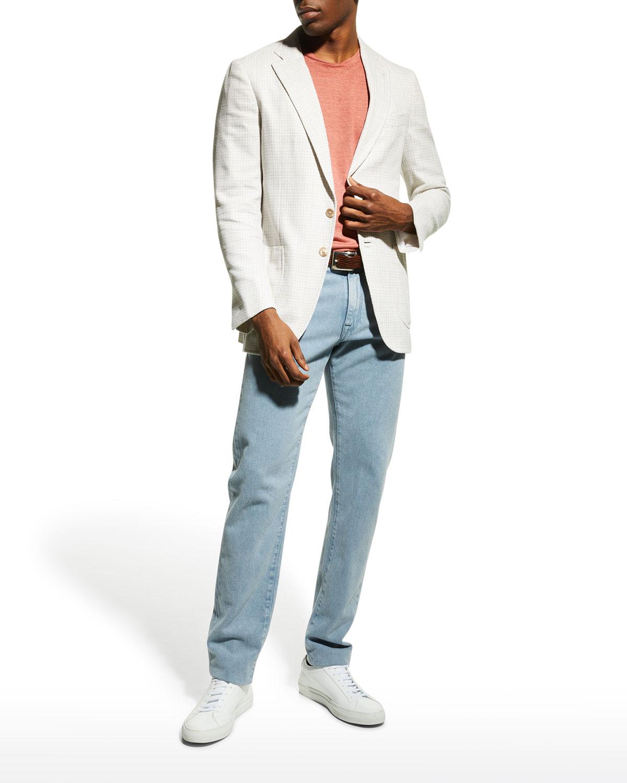 Men's Straight-Leg Light-Wash Jeans