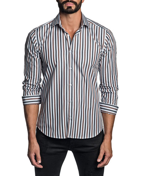 Jared Lang Men's Tricolor-Stripe Sport Shirt