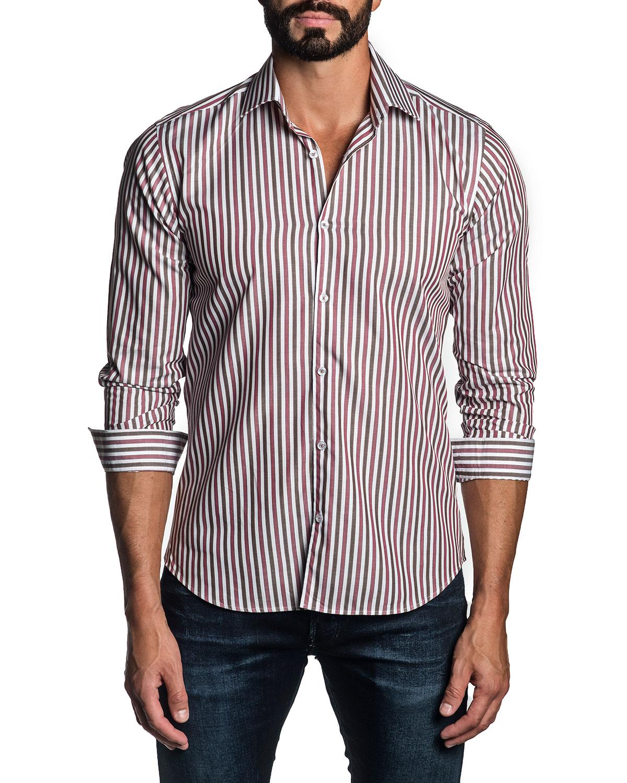 Men's Tricolor-Stripe Sport Shirt