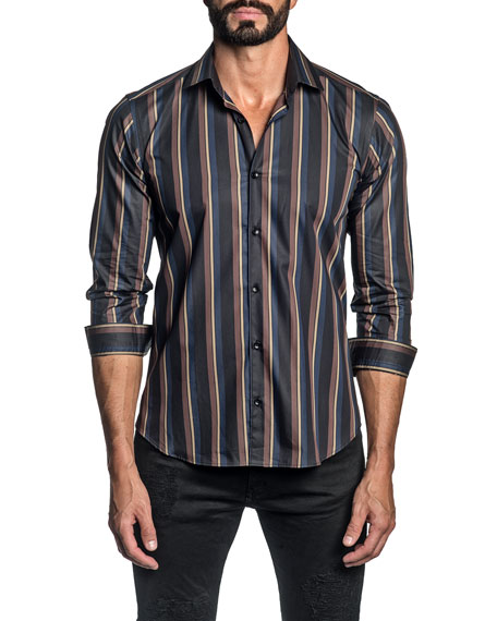 Jared Lang Men's Multi-Stripe Sport Shirt