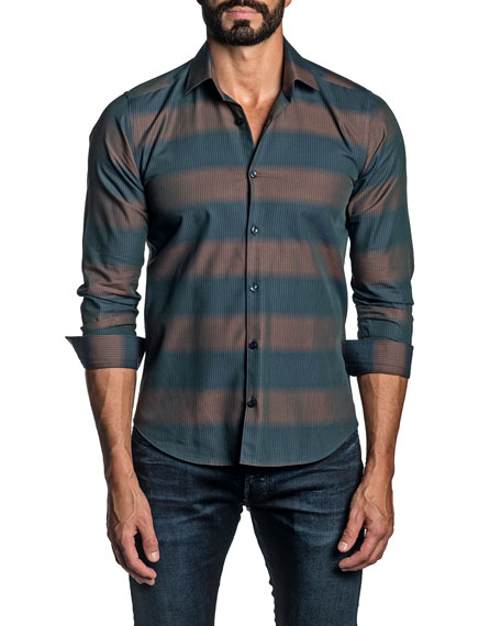 Jared Lang Men's Thick-Stripe Sport Shirt