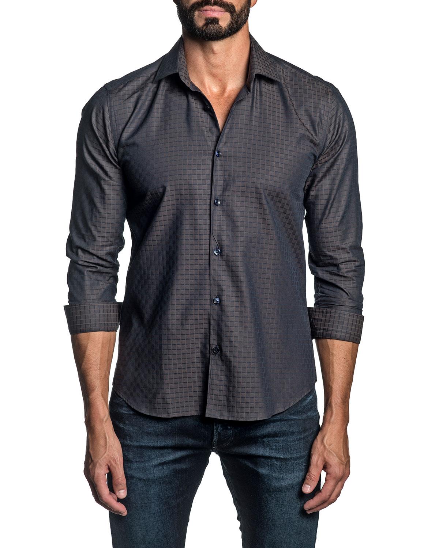 Men's Tonal Jacquard Sport Shirt