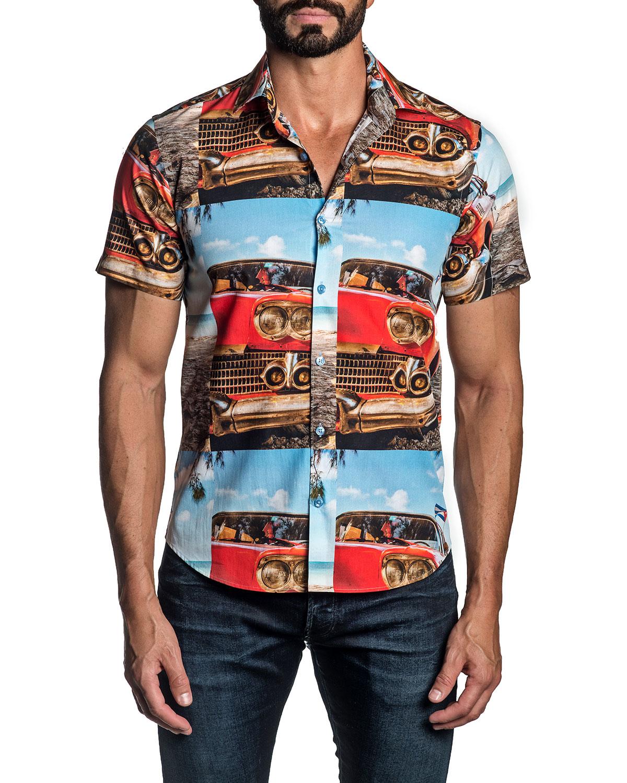 Men's Sky-Print Sport Shirt
