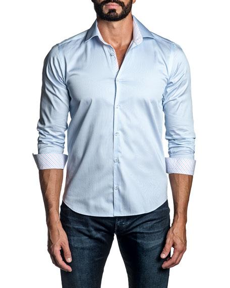 Jared Lang Men's Pinstripe Contrast-Reverse Sport Shirt