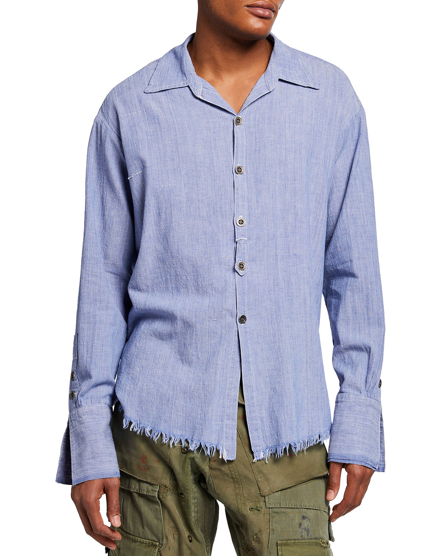 Men's Chambray Raw-Edge Dress Shirt