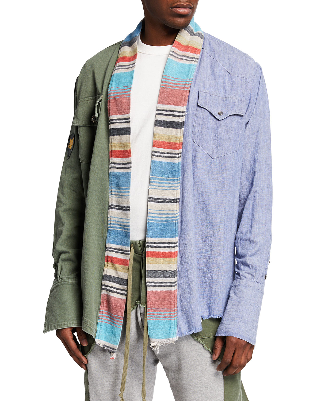 Men's Army Chambray Dhurrie Stripe Kimono Jacket