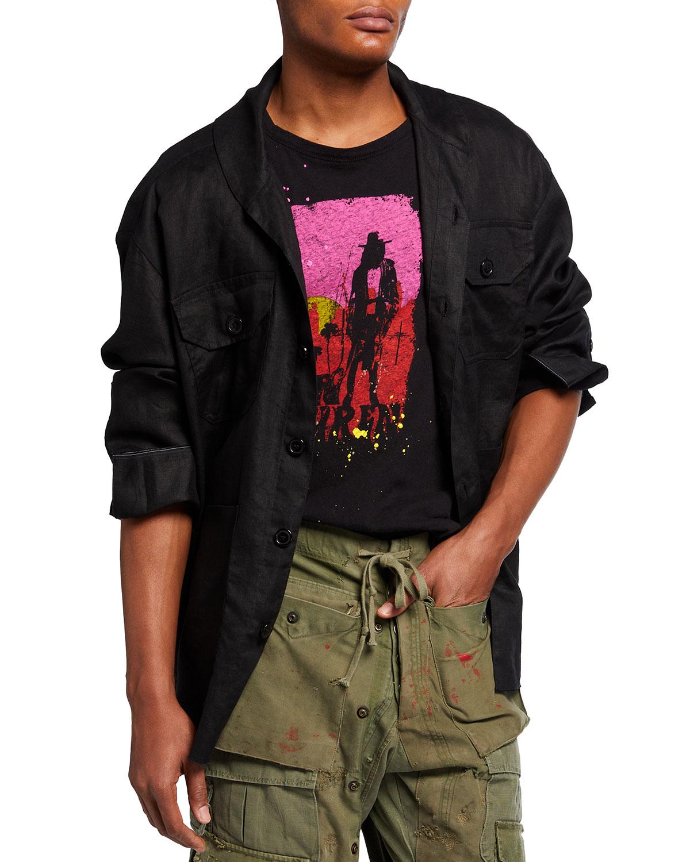 Men's Linen Shawl-Collar Boxy Studio Shirt