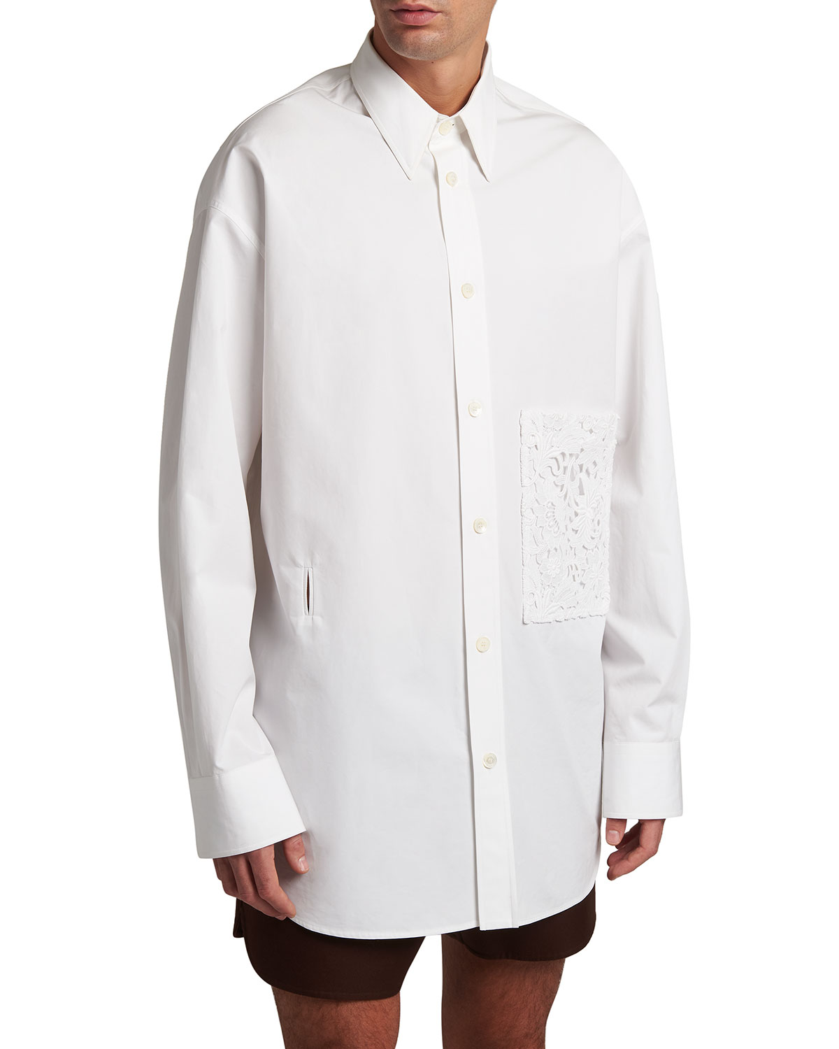 Valentino MEN'S OVERSIZED SPORT SHIRT W/ MACRAME POCKET
