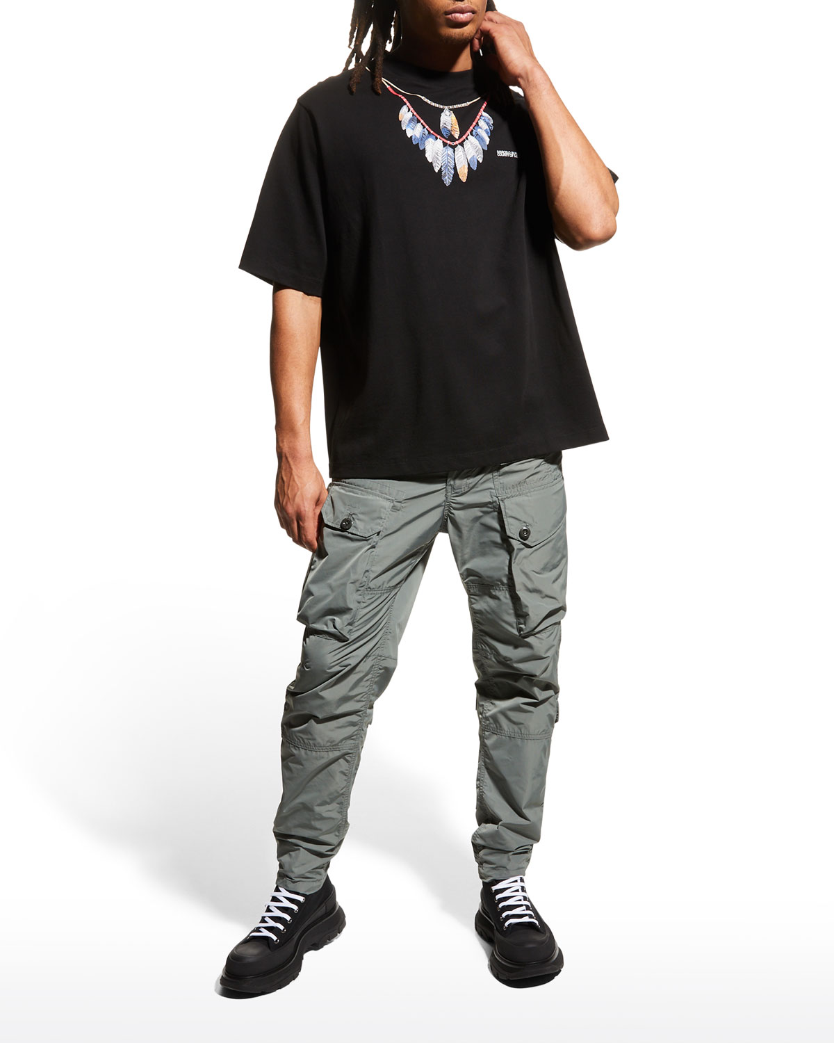 Men's Double Chain Feather Graphic Tee