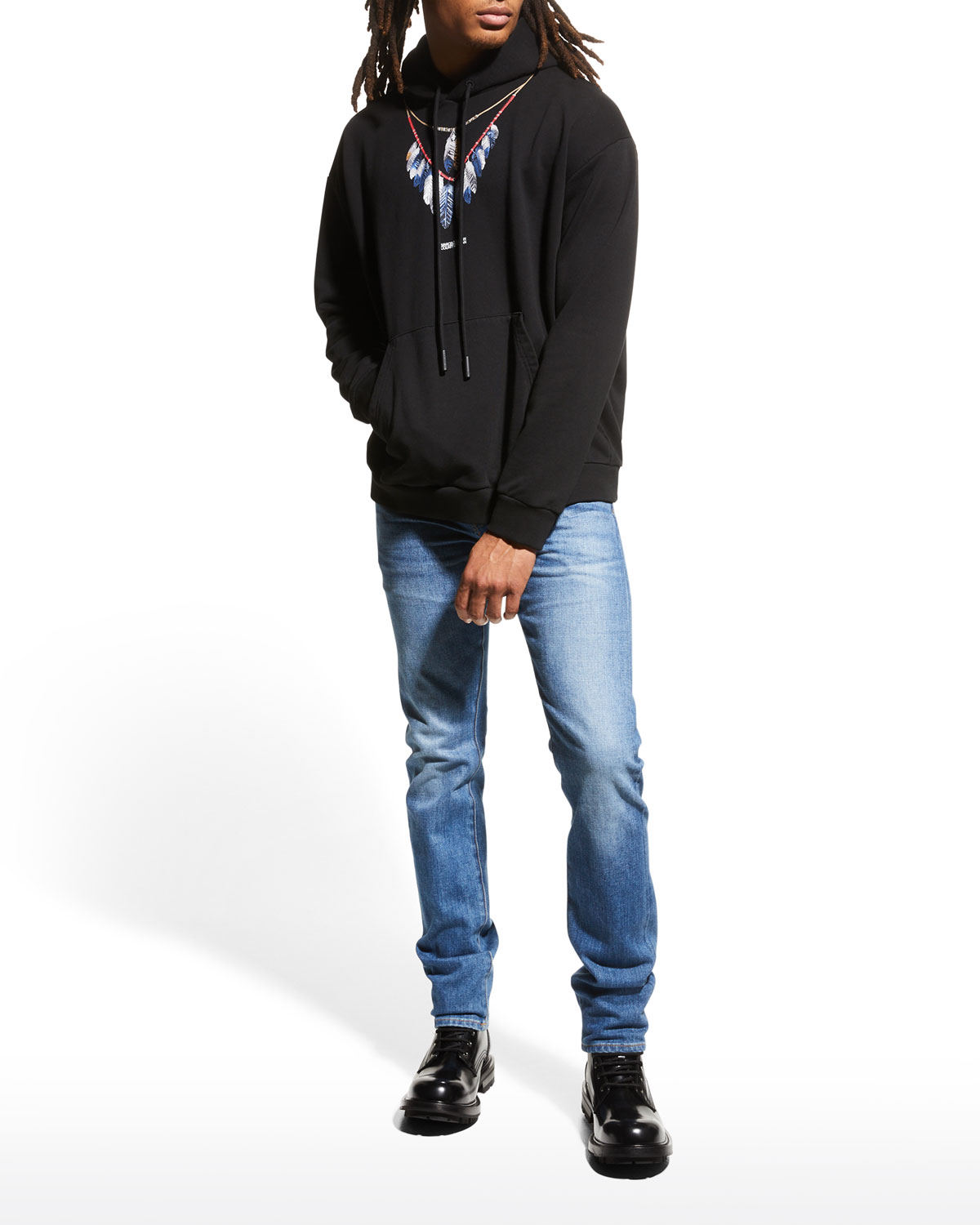 Men's Double Chain Feather Graphic Hoodie