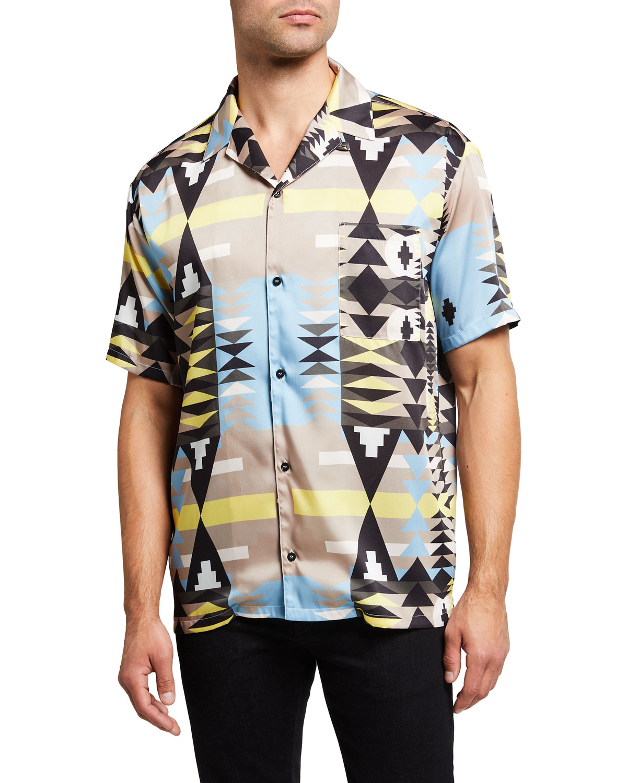 Men's Tribal-Print Hawaiian Camp Shirt
