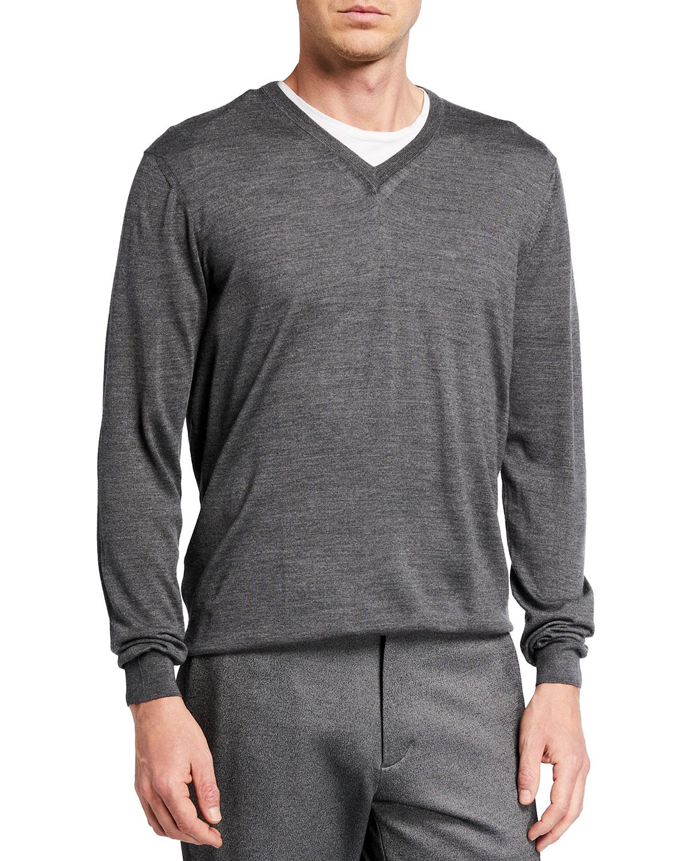 Men's Super 140s Merino V-Neck Sweater