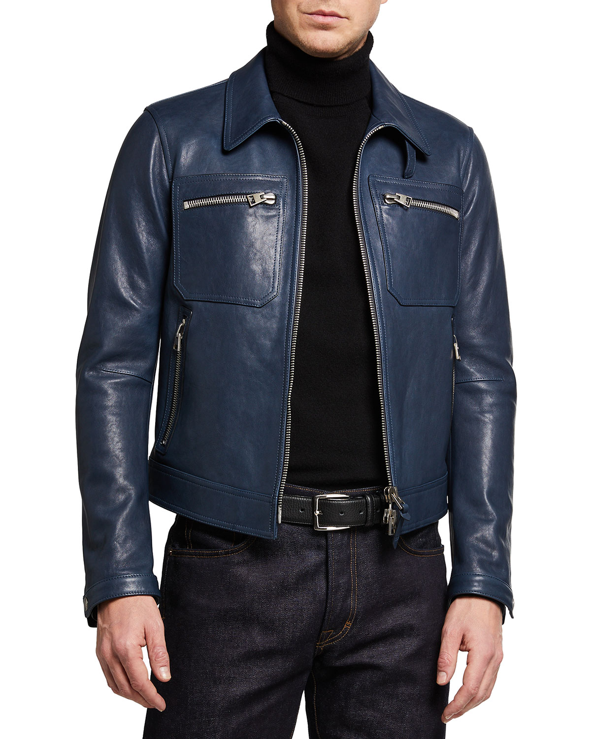 Tom Ford MEN'S WORKED LAMB LEATHER BLOUSON JACKET