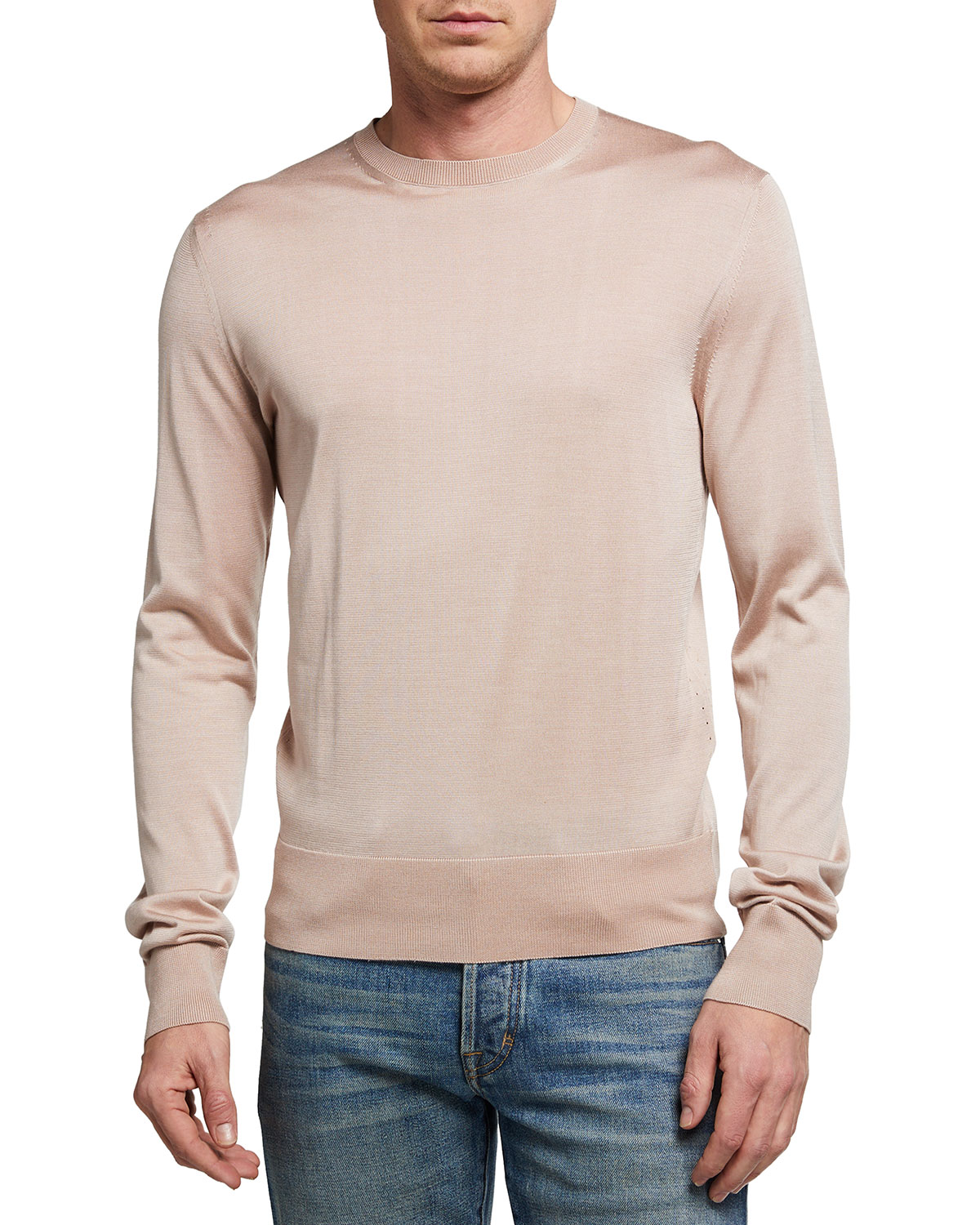 Tom Ford MEN'S PLATED SILK CREWNECK SWEATER