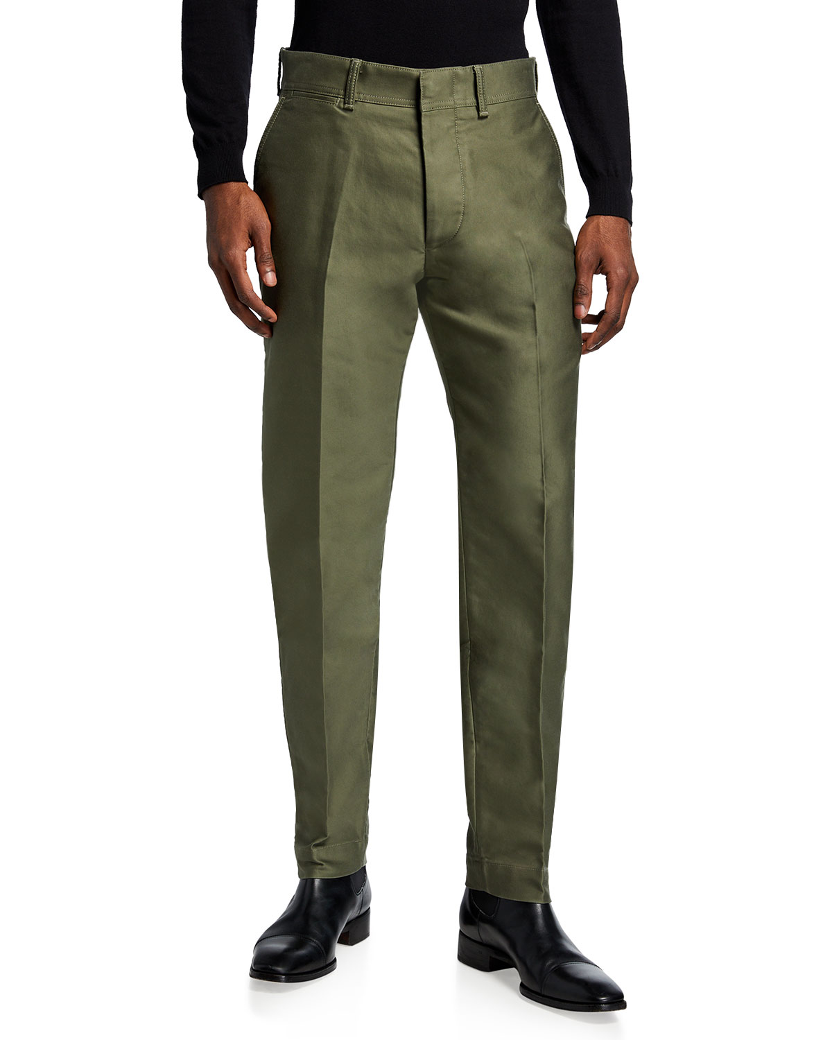 Tom Ford MEN'S SOLID SEAMED CHINO PANTS