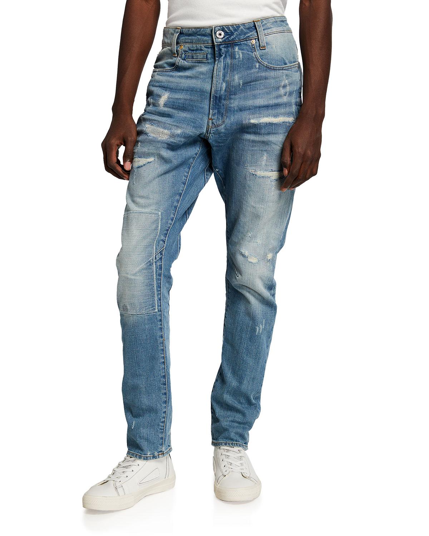 Men's D-Staq 3D Slim-Fit Faded Distressed Jeans