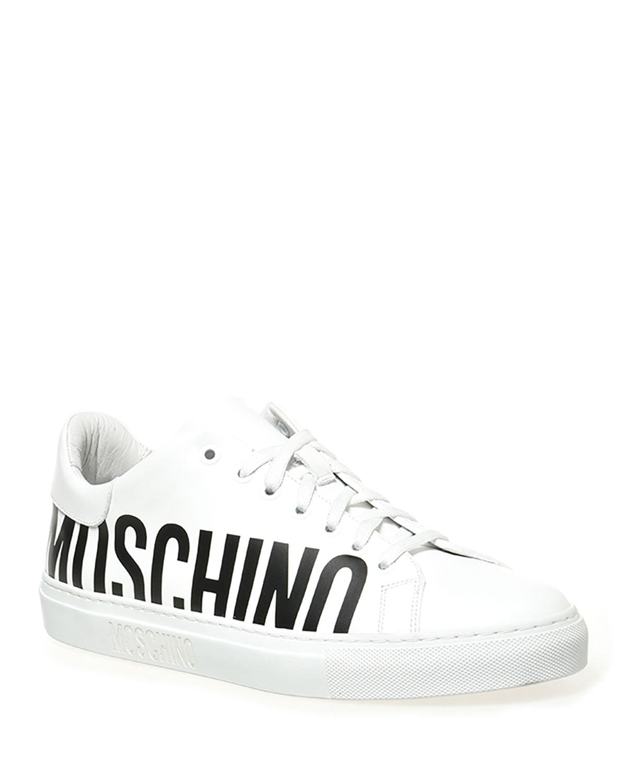 Men's Bicolor Logo Leather Low-Top Sneakers