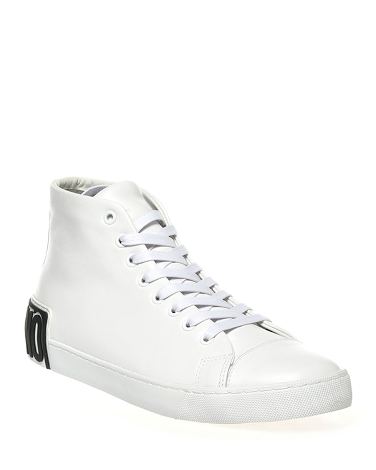 Men's Logo Leather High-Top Sneakers