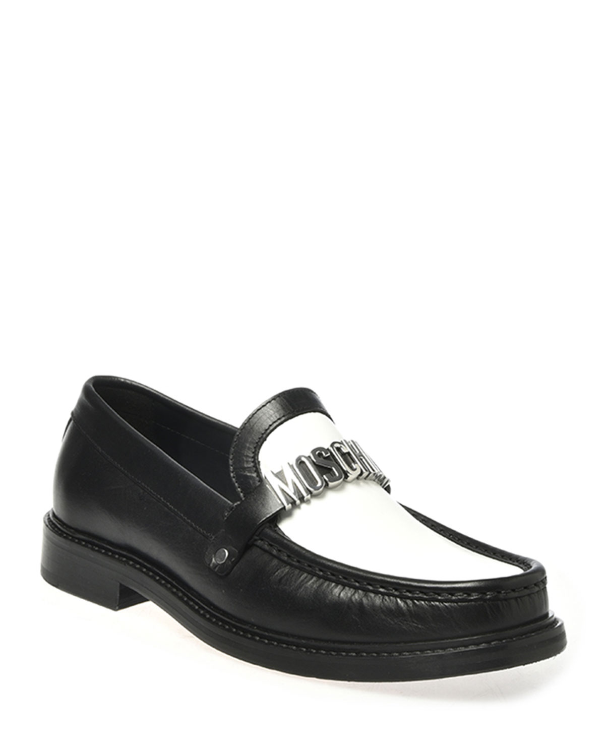 Men's Two-Tone Leather Logo Loafers