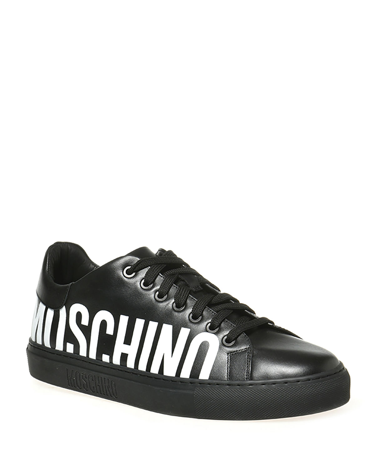 Moschino Leathers MEN'S BICOLOR LOGO LOW-TOP SNEAKERS