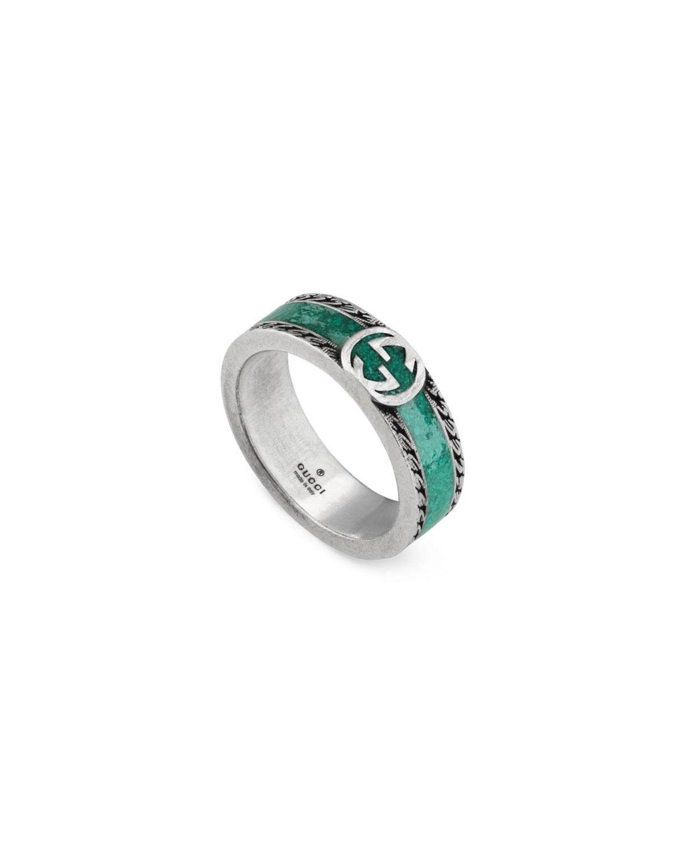 Interlocking G Silver & Enamel Band Ring