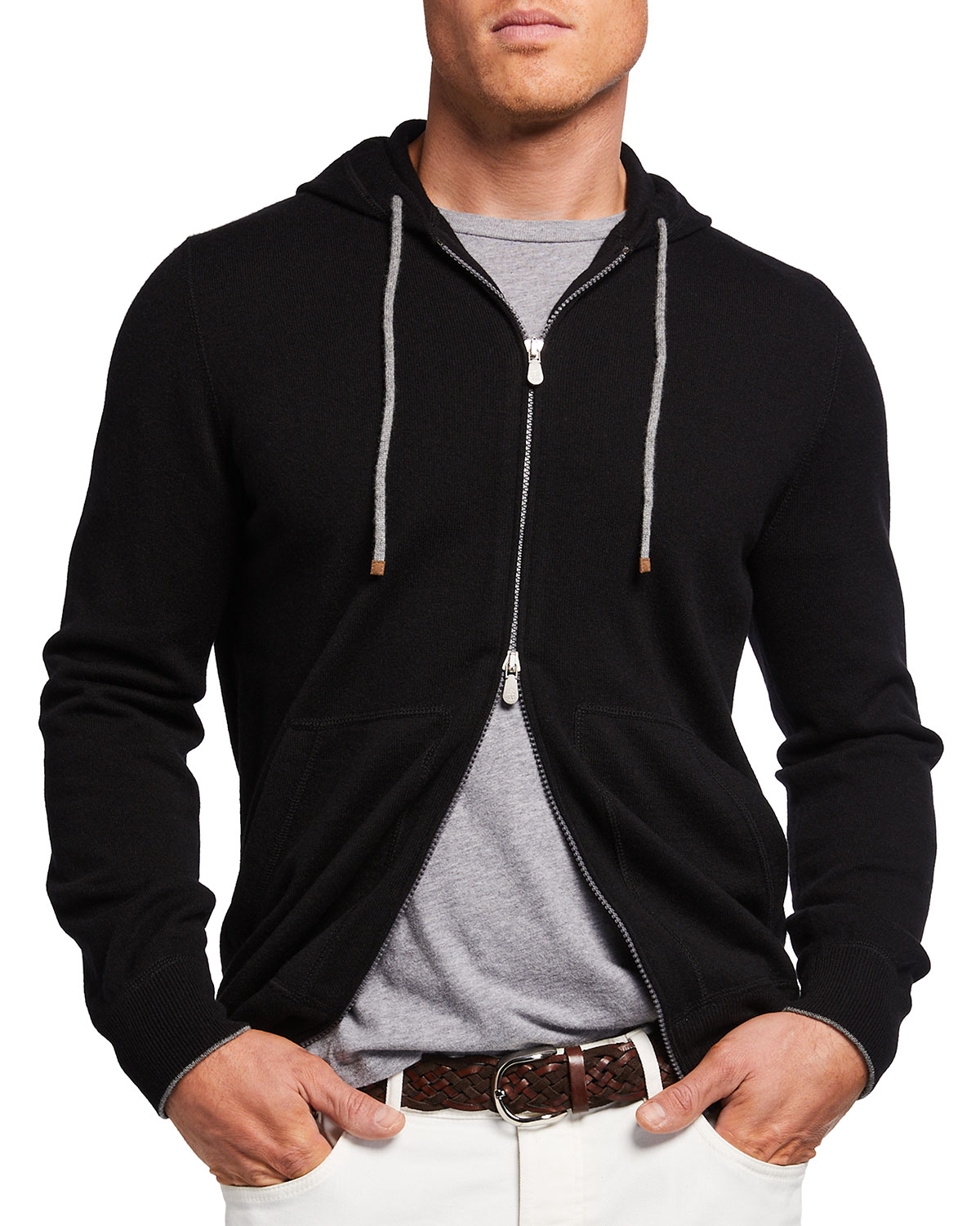 Men's Two-Tone Full Zip Cashmere Hoodie Sweater