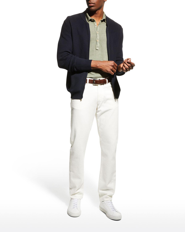Men's Solid Half-Placket Polo Shirt