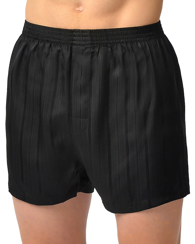 Men's Herringbone Stripe Silk Boxer Shorts