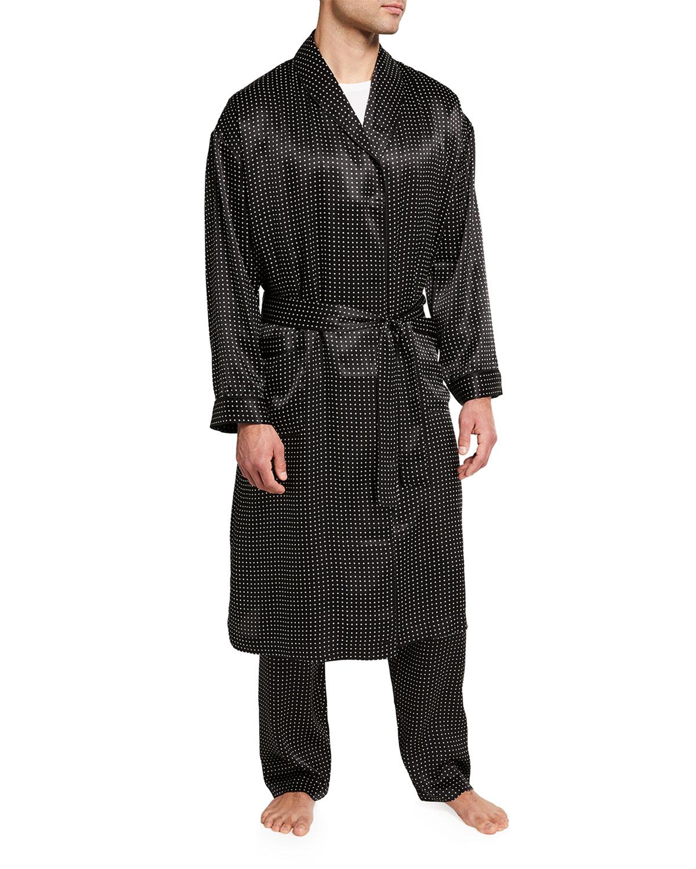 Men's Silk Dot Shawl Robe