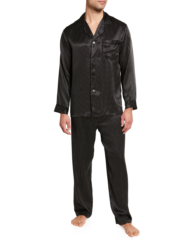 Men's Silk Dot Pajama Set