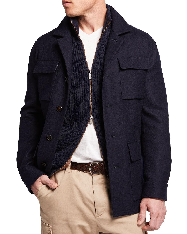 Men's Cashmere-Silk 4-Pocket Safari Jacket