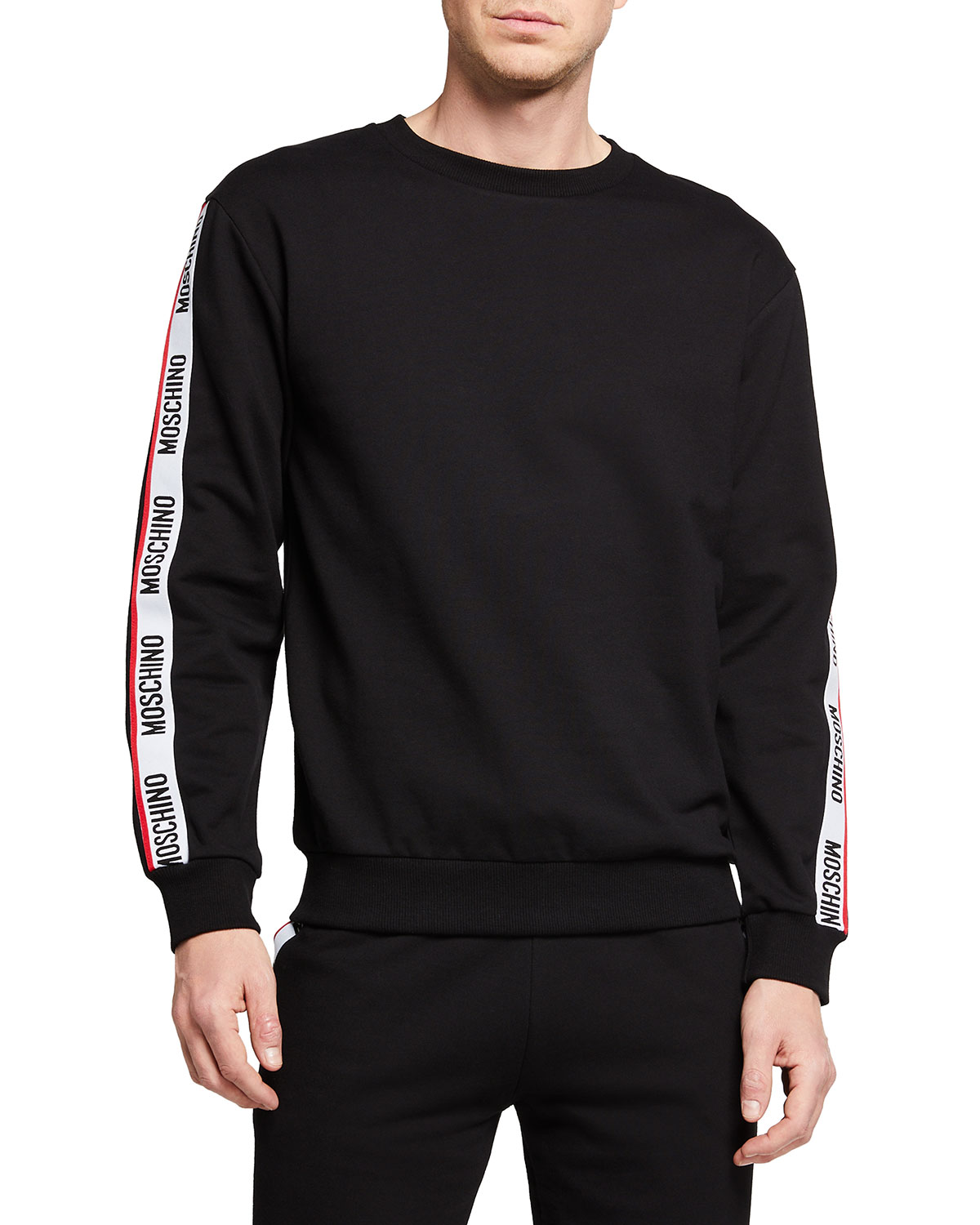 Moschino MEN'S CREW SWEATER W/ LOGO TAPING