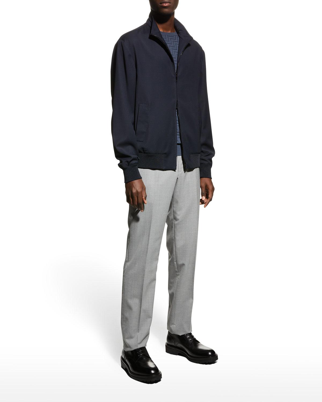 Men's Stand-Collar Wool Bomber Jacket
