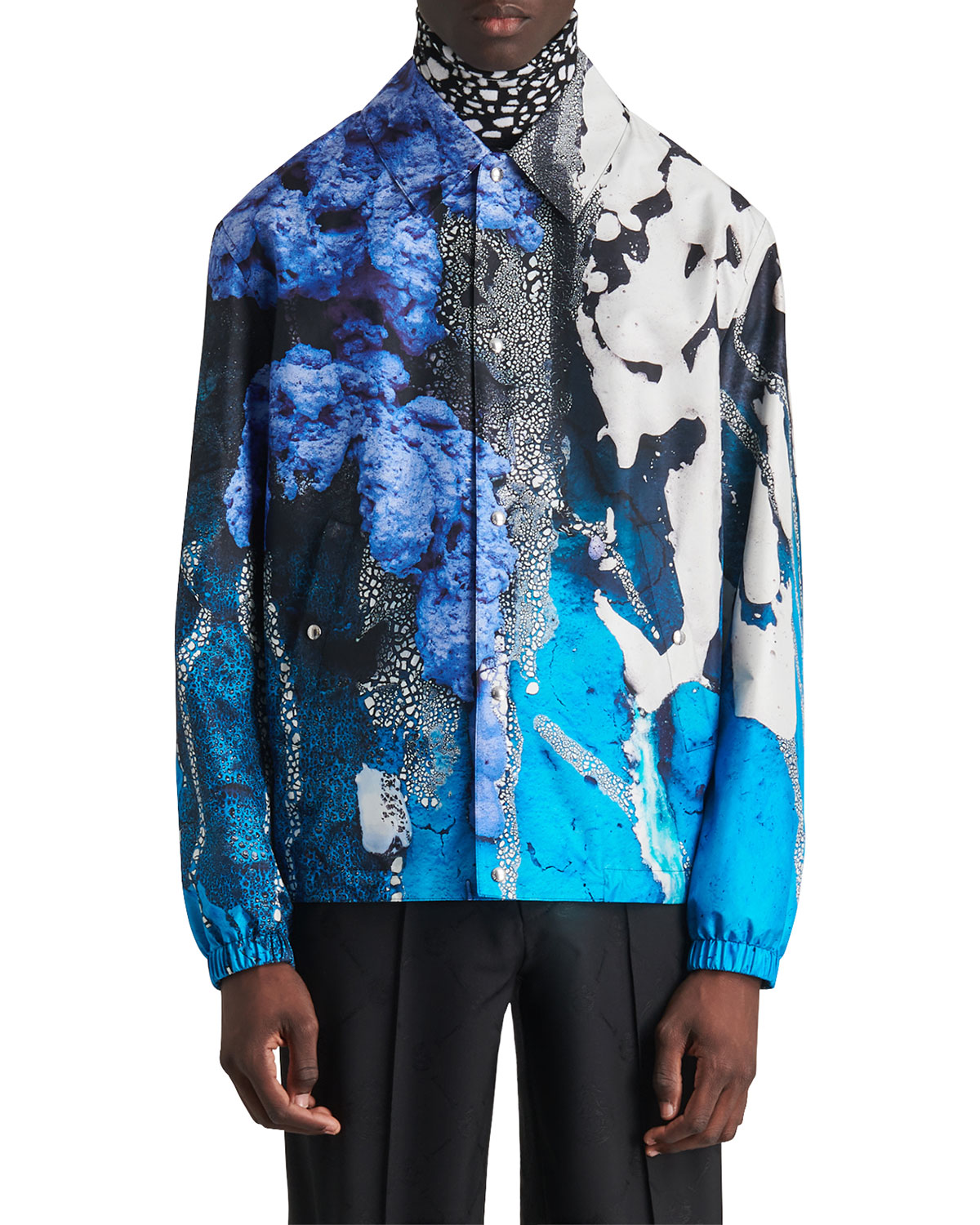 Berluti MEN'S PRINTED SILK SHIRT JACKET
