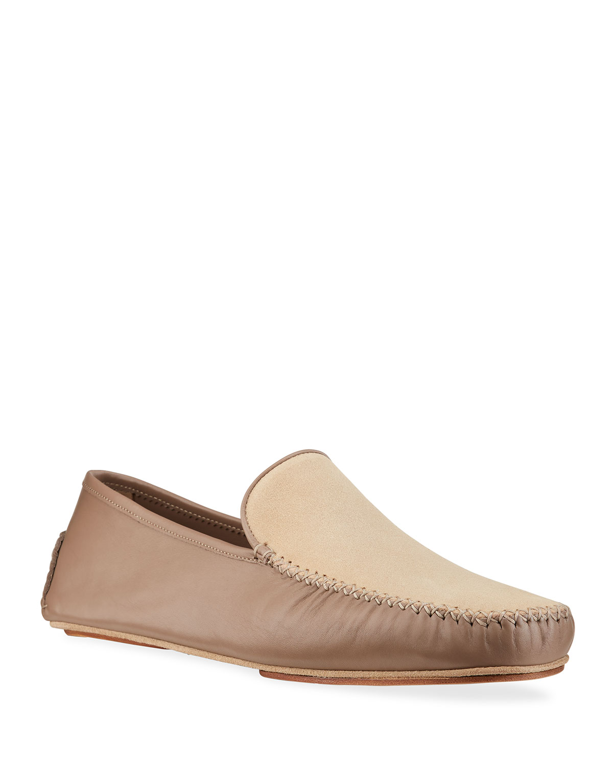 Manolo Blahnik MEN'S MAYFAIR SUEDE AND LEATHER SLIPPERS