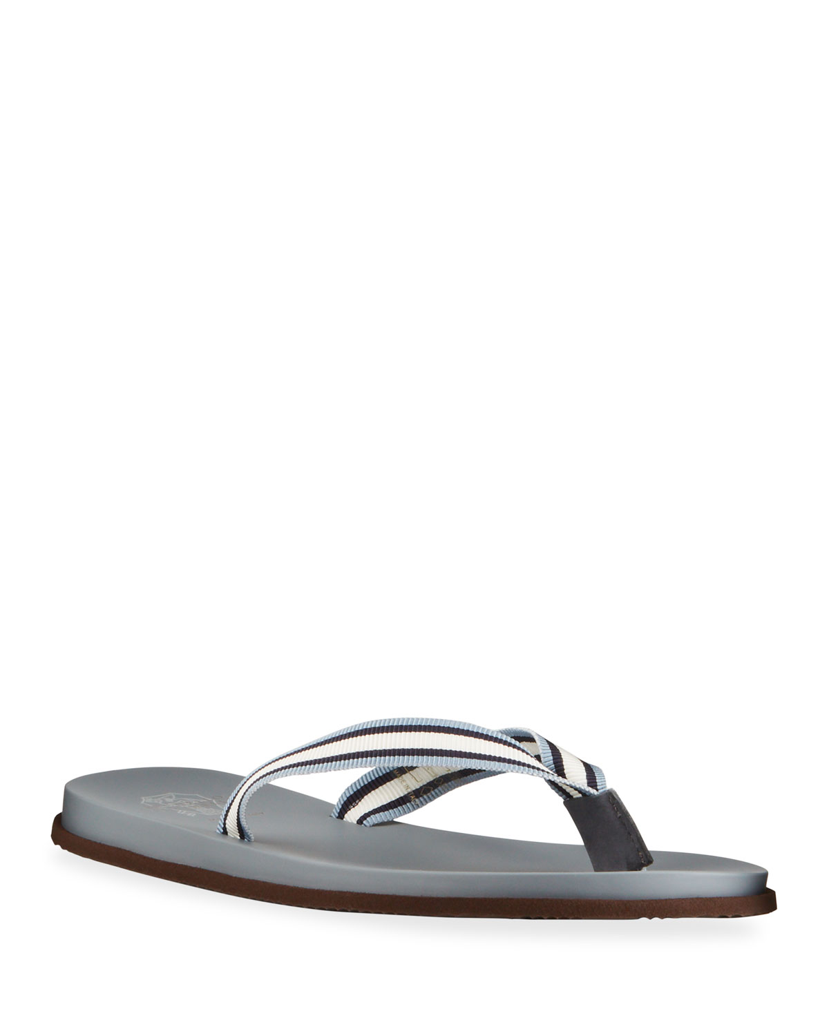 Brunello Cucinelli MEN'S STRIPED FLIP FLOPS