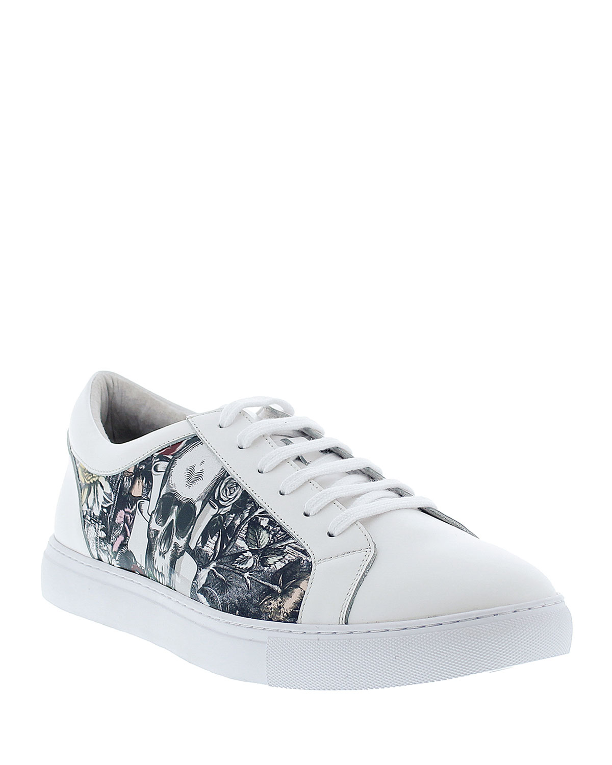 Robert Graham Leathers MEN'S GRAM FLORAL & SKULL LEATHER LACE-UP SNEAKERS