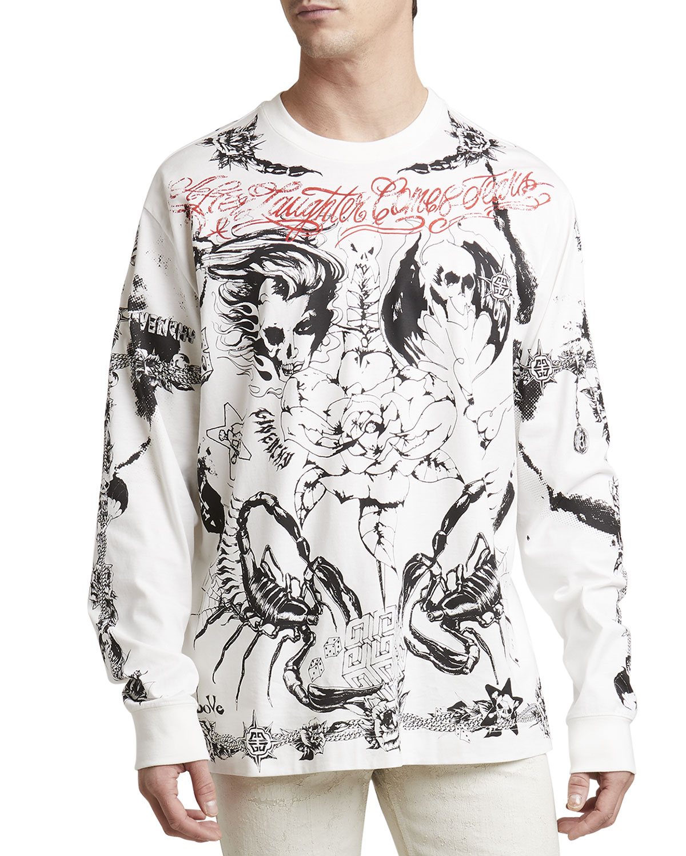 Givenchy Cottons MEN'S LA TATTOO OVERSIZED LONG-SLEEVE T-SHIRT
