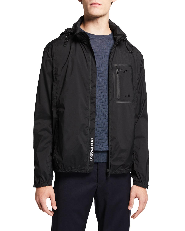 Men's Stretch-Nylon Hooded Travel Bomber Jacket