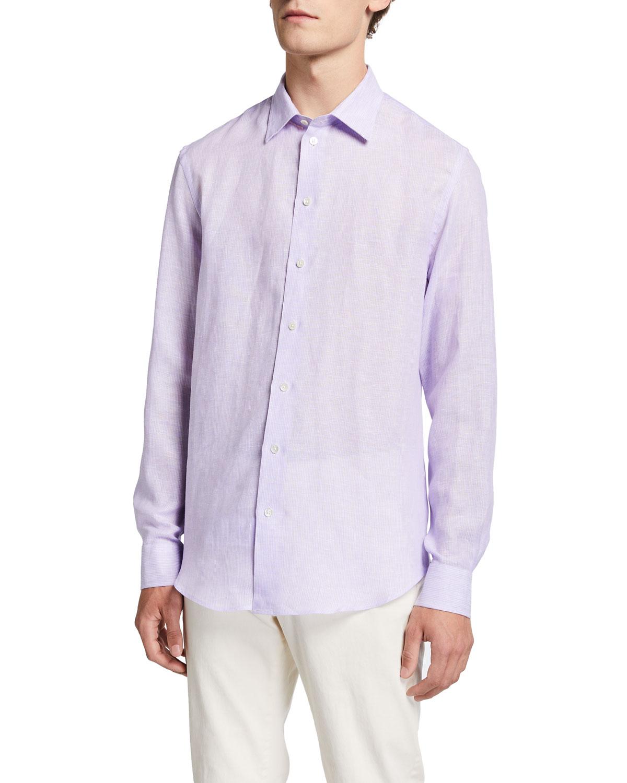 Men's Striped Linen Sport Shirt