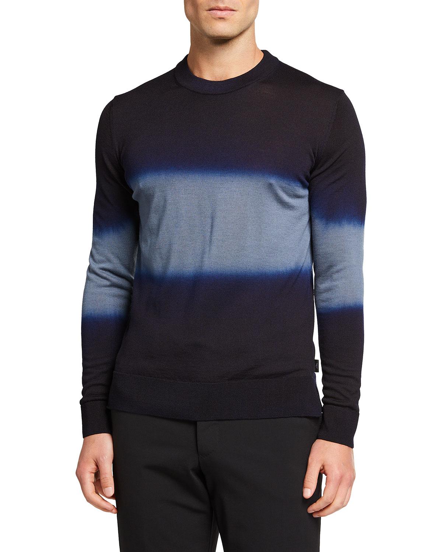 Men's Middle-Stripe Wool Crewneck Sweater