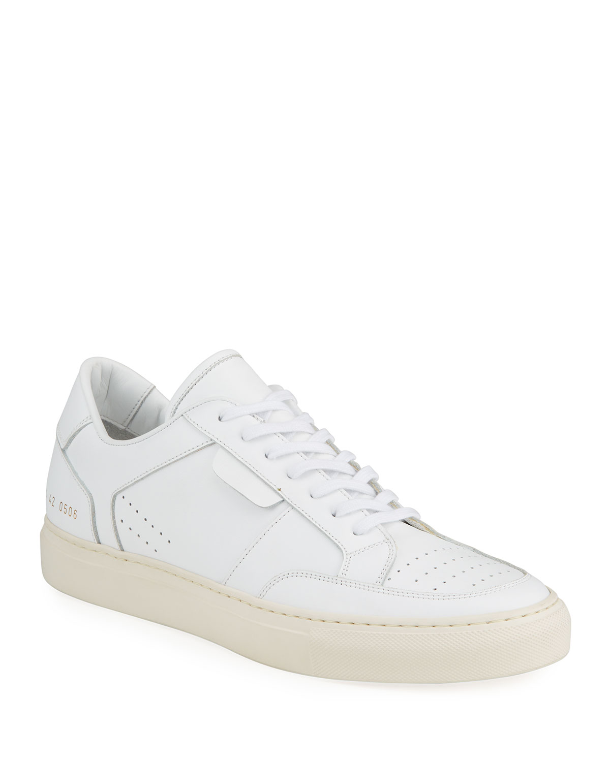 Common Projects Leathers MEN'S ZEUS PROTOTYPE PERFORATED LOW-TOP SNEAKERS