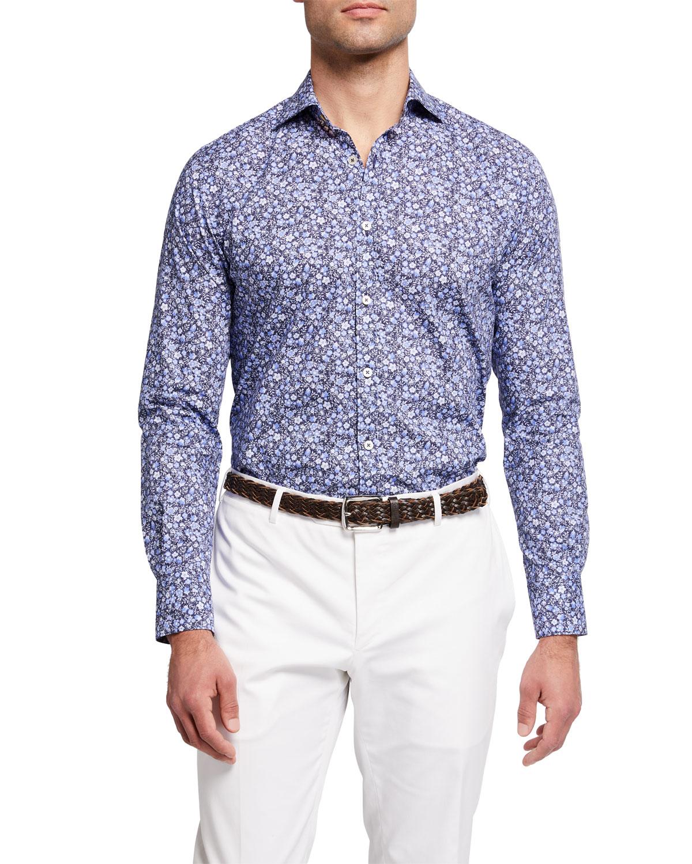 Men's Mini Floral-Print Sport Shirt